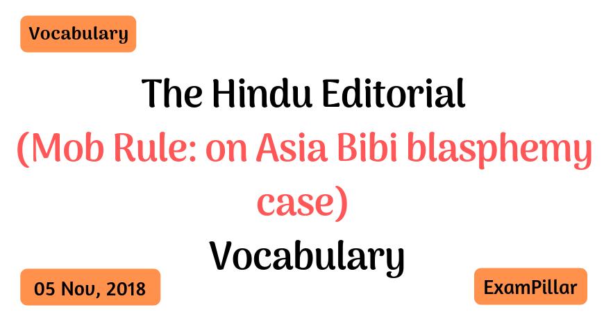 The Hindu Editorial Vocab – 05 Nov, 2018