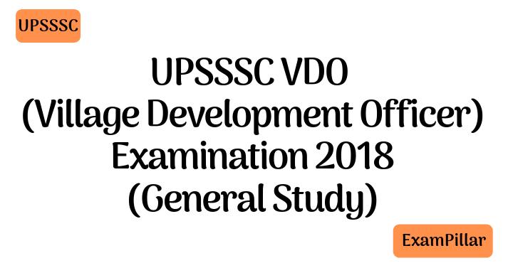 UPSSSC VDO Examination 2018 Solved Paper