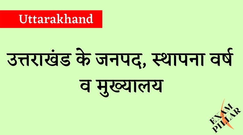District of Uttarakhand, Establishment and Headquarters
