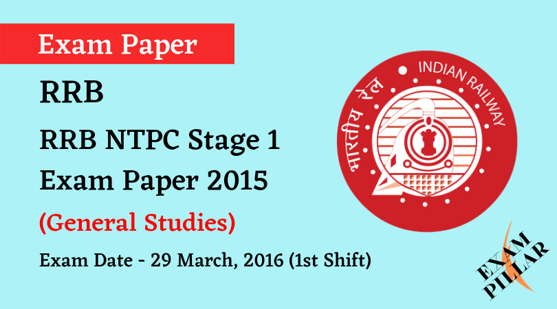 RRB NTPC Stage 1Exam Paper - 29 March 2016