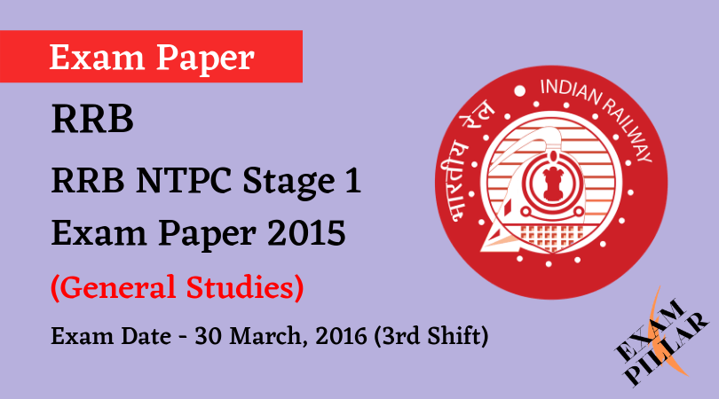 RRB NTPC Stage 1 Exam Paper - 30 March 2016