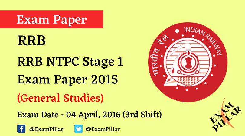 RRB NTPC Stage 1Exam Paper - 04 April 2016 (3rd Shift)