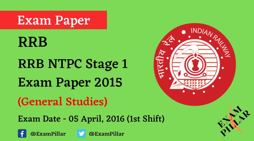 RRB NTPC Stage 1Exam Paper - 05 April 2016 (1st Shift)