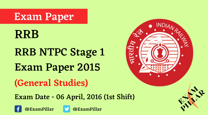 RRB NTPC Stage 1 Exam Paper - 06 April 2016 (1st Shift)