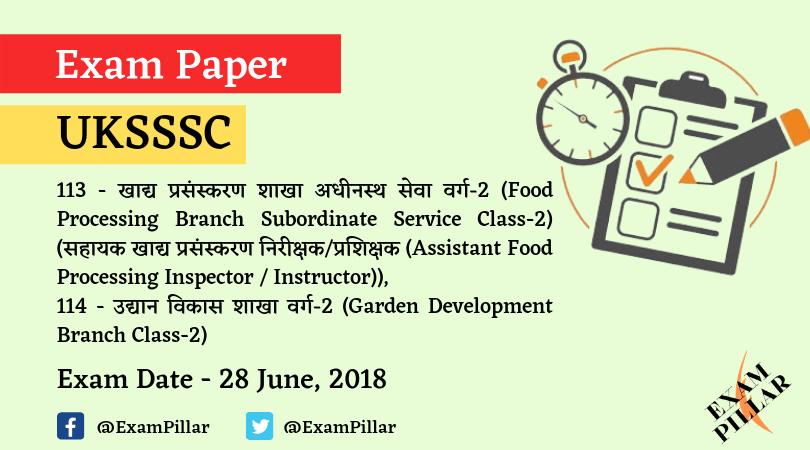UKSSSC 28 June 2019 Third Shift Paper Answer Key
