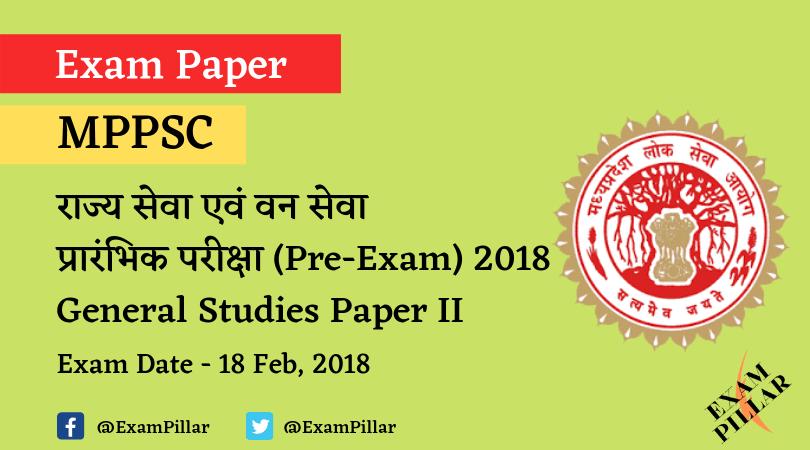 MPPSC Pre Exam 2018 GS Paper-2 Answer Key