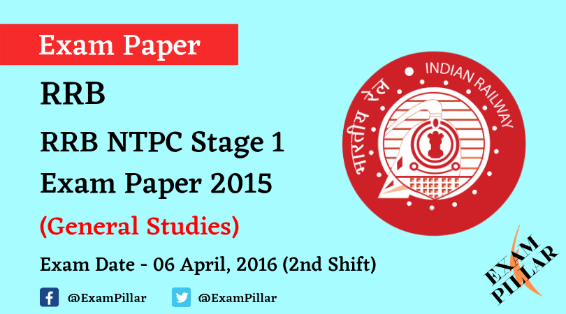RRB NTPC Stage 1Exam Paper - 06 April 2016 (2nd Shift)