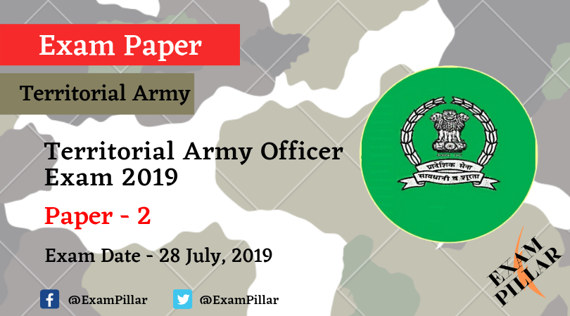 Territorial Army Exam 2019 Answer Key