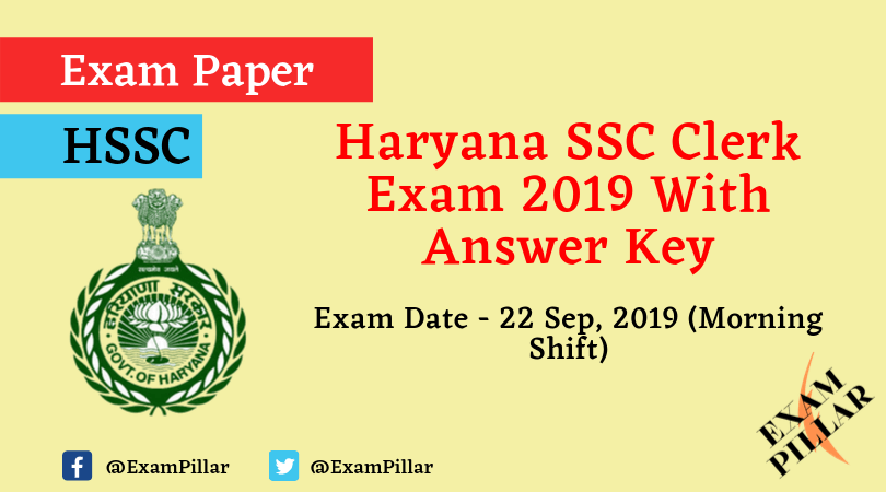 Haryana SSC Clerk Question Paper 22 Sep 2019 Morning (Answer Key)