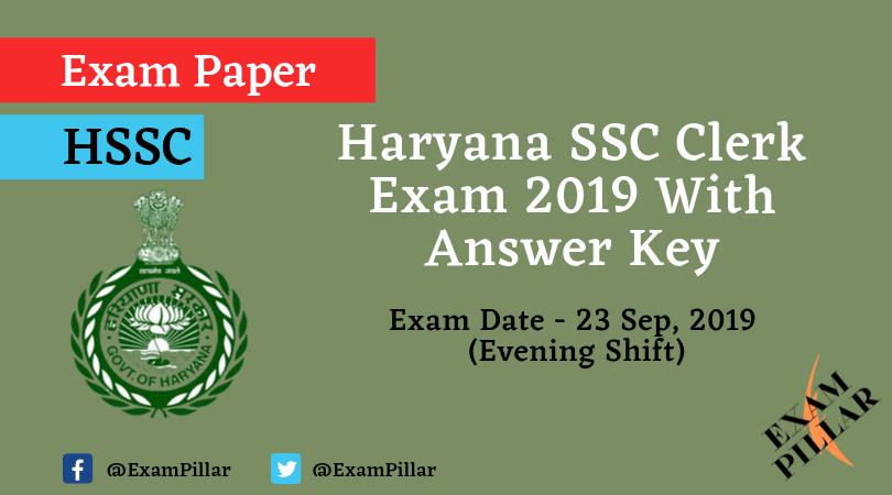 Haryana SSC Clerk Question Paper 23 Sep 2019 Evening (Answer Key)