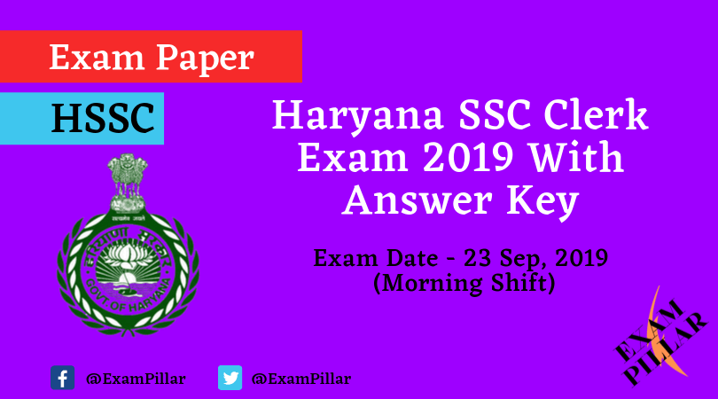 Haryana SSC Clerk Question Paper 23 Sep 2019 Morning (Answer Key)