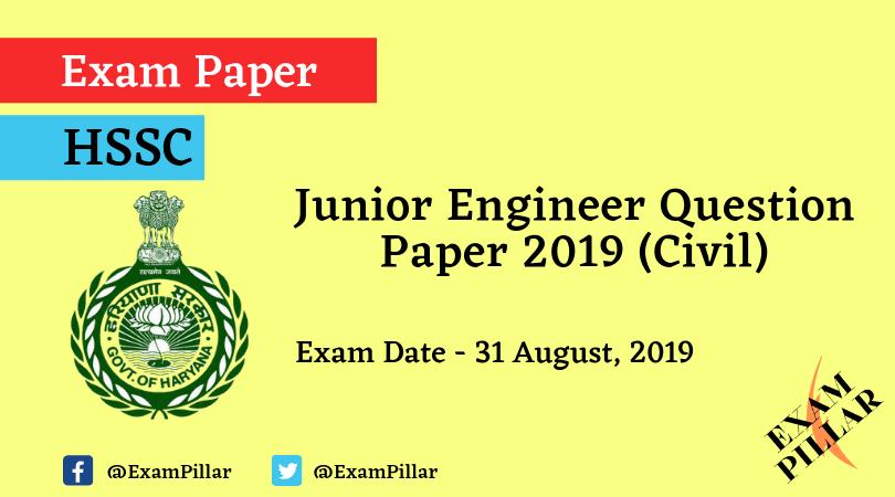 HSSC JE Exam Paper 2019 Answer Key