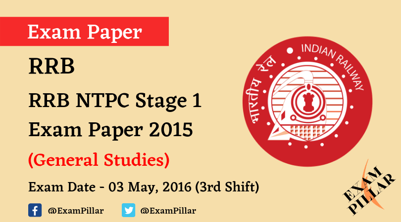 RRB NTPC Stage 1 Exam Paper