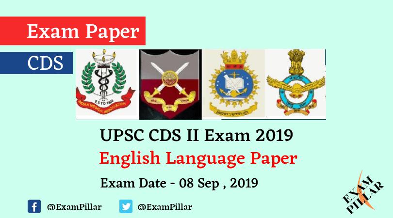 UPSC CDS II Exam 2019 – English Paper (Answer Key)