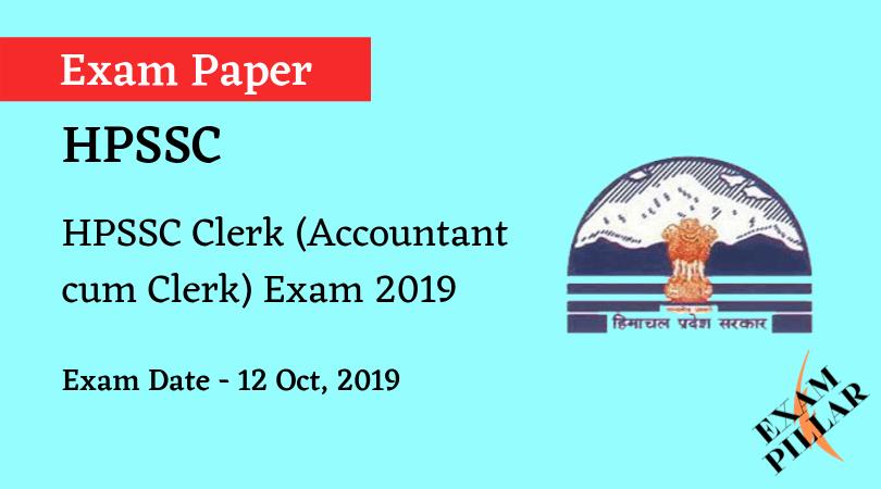 HPSSC Clerk (Accountant cum Clerk) Exam Paper 2019 (Answer Key)