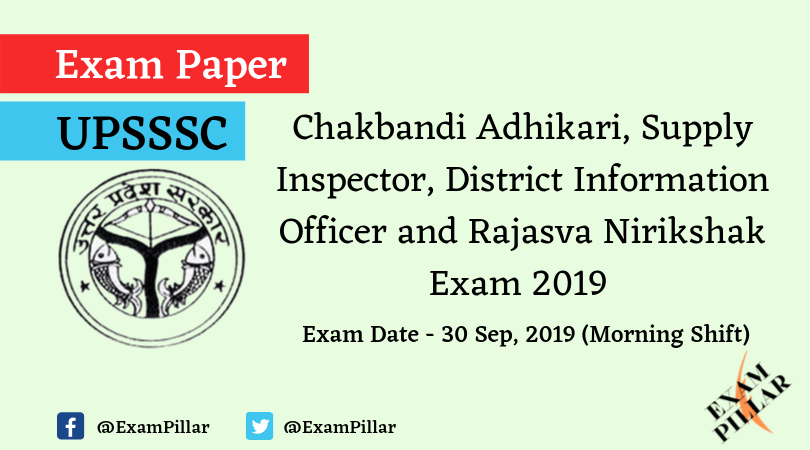 UPSSSC Lower Question Paper 30 Sep 2019 (Morning Shift)