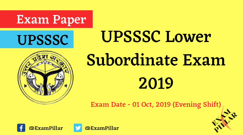 UPSSSC Lower Subordinate Question Paper 01 Oct 2019 (Evening Shift)