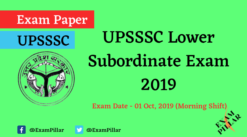 UPSSSC Lower Subordinate Question Paper 01 Oct 2019 (Morning Shift)