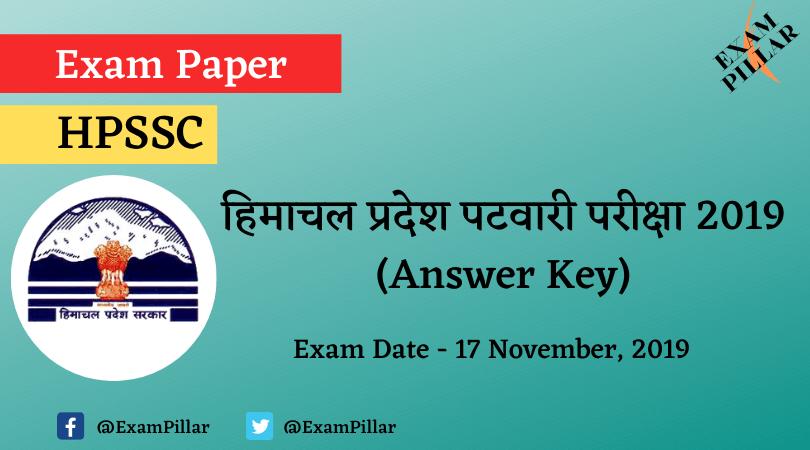 Himachal Pradesh Patwari Exam Paper 2019 (Answer Key)