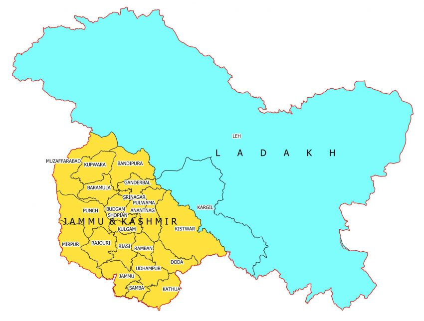 Map of UTs Leh and J&K