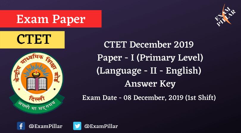 CTET Dec 2019 Paper I Answer Key