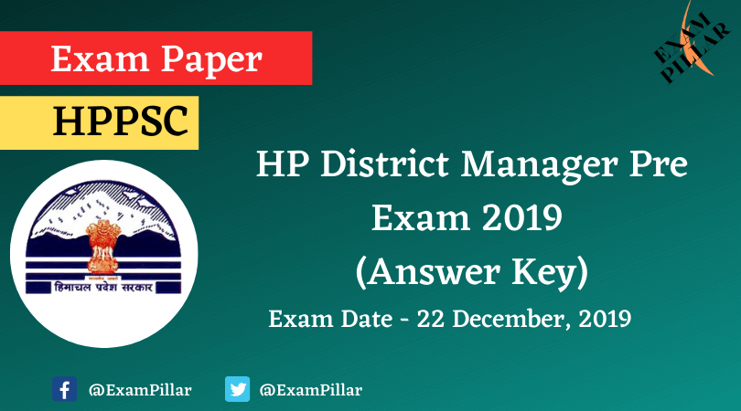 HP District Manager Pre Exam 2019 (Answer Key)