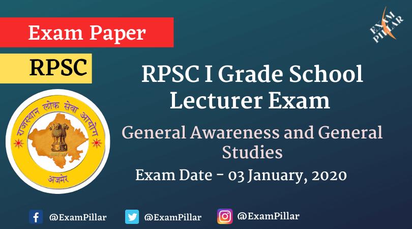 RPSC 1st Grade School Lecturer 2020 (Answer Key)