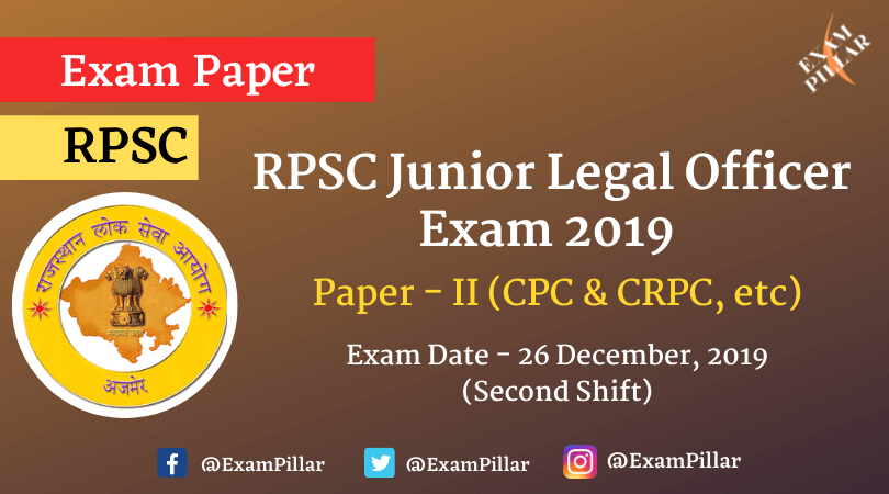 RPSC Junior Legal Officer Exam 2019 Paper - II (Answer Key)
