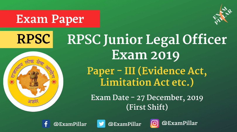 RPSC Junior Legal Officer Exam 2019 Paper - III (Answer Key)