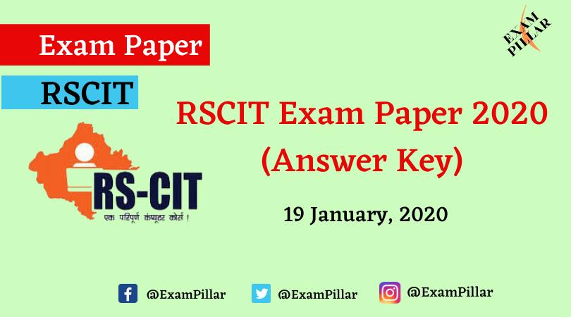 RSCIT Exam Paper 19 January 2020 (Answer Key)