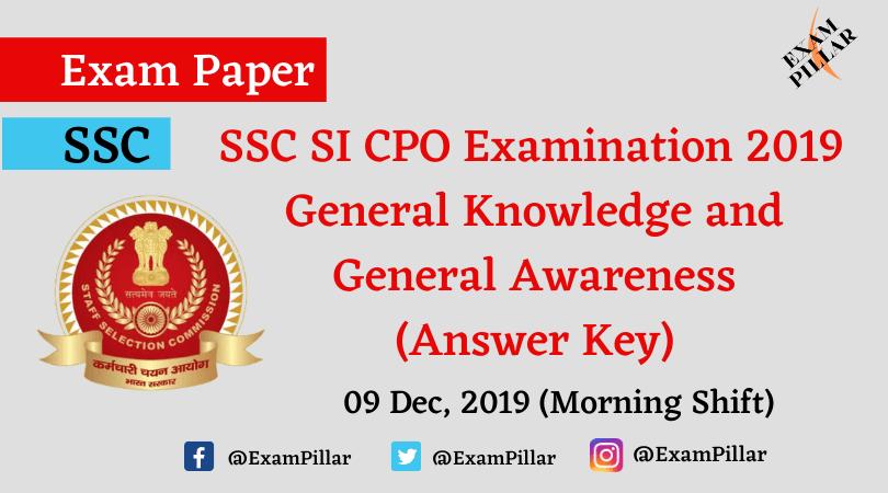 SSC SI CPO Exam 2019 Answer Key