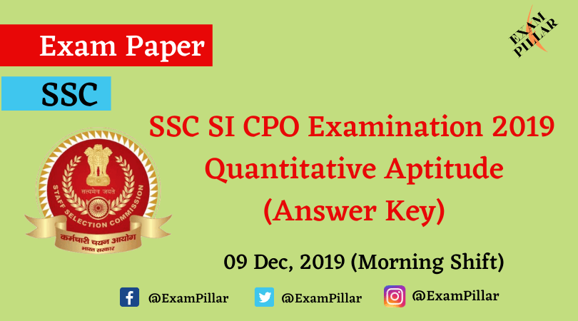 SSC SI CPO Exam 2019 Answer Key