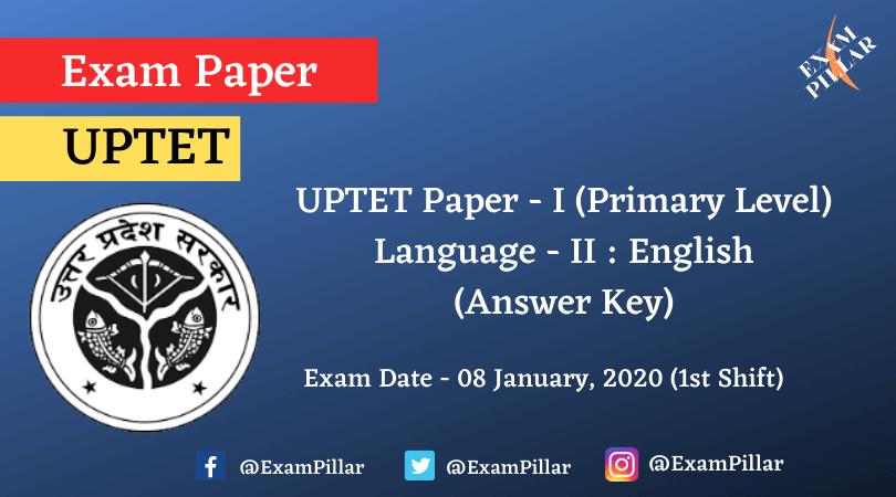 UPTET Paper 1 Language 2 English (Answer Key)