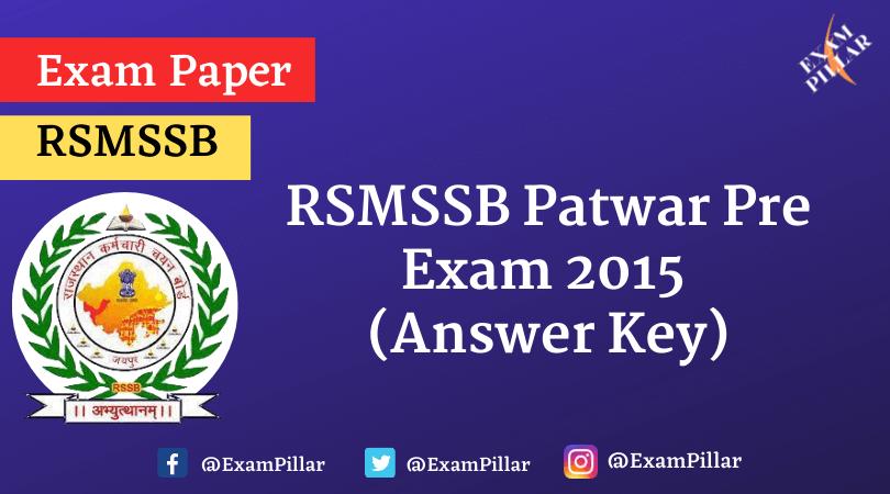 RSMSSB Patwar Pre Exam 2015 (Answer Key)
