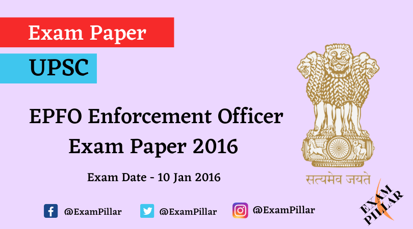 UPSC EPFO (APFC) Exam Paper 2016 (Answer Key)