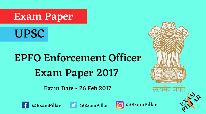 UPSC EPFO (APFC) Exam Paper 2017 (Answer Key)