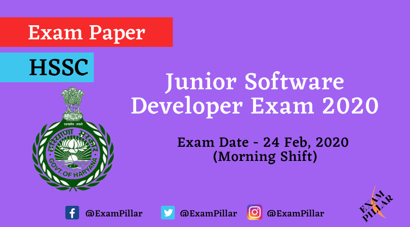 HSSC Junior Software Developer Exam 24 Feb 2020 (Morning Session) Answer Key