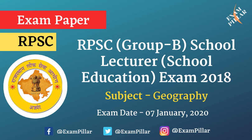 RPSC (Group-B) School Lecturer Answer Key