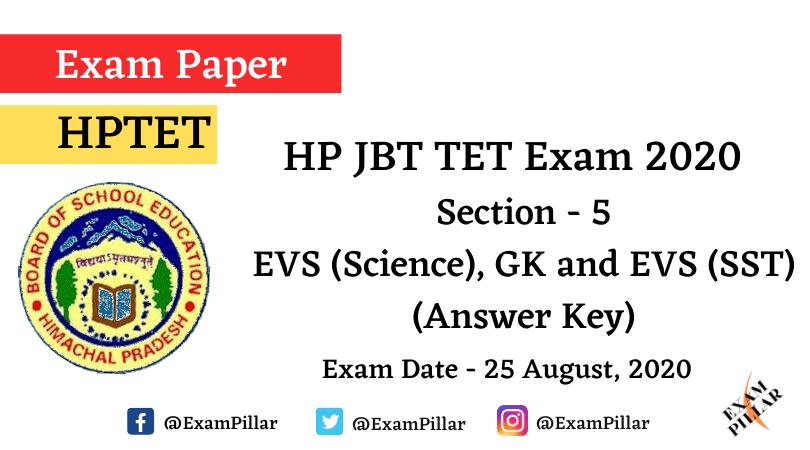 HP JBT TET Exam 2020 – GK and EVS (Answer Key)