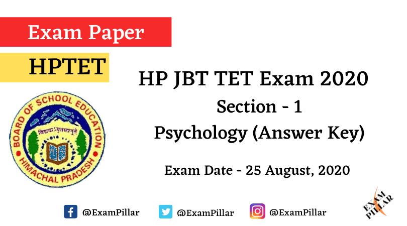 HP JBT TET Exam 25 Aug 2020 - Psychology (Answer Key)