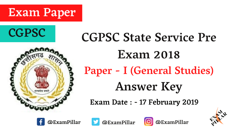 Chhattisgarh PCS Pre Exam 2018 Answer Key