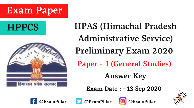 HPAS Preliminary Exam 2020 Paper I (General Studies) Answer Key
