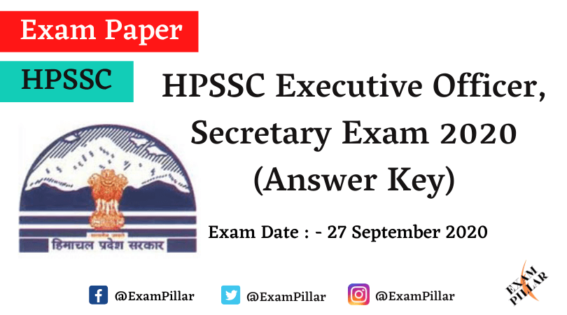 HPSSC Executive Officer, Secretary Exam 27 Sep 2020 (Answer Key)