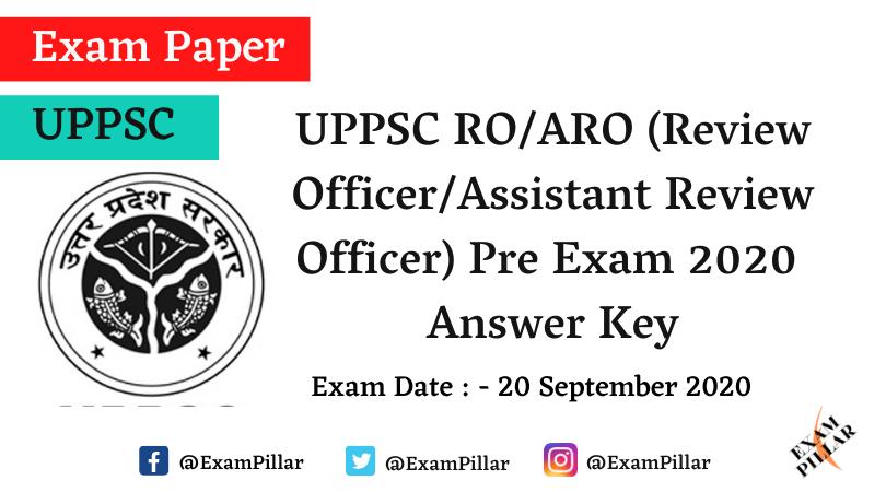 UPPSC RO/ARO Pre 2020 Answer Key