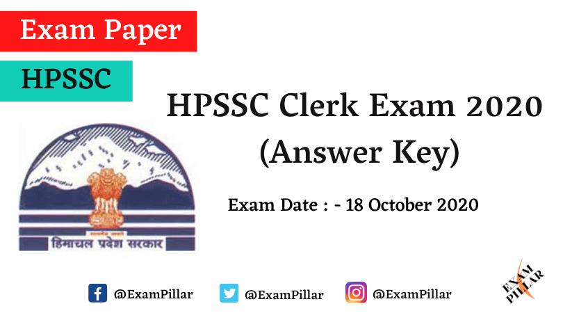 HPSSC Clerk 2020 Answer Key