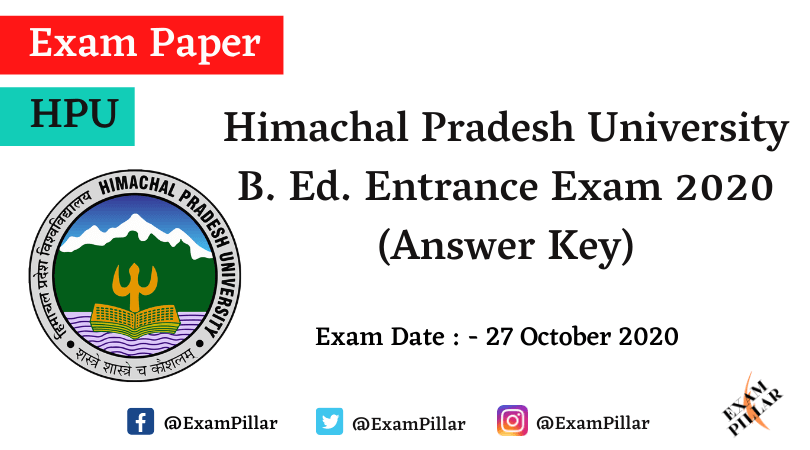 HPU B. Ed. Entrance Exam 2020 (Answer Key)