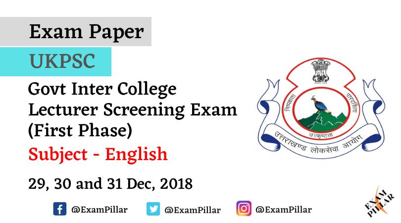 UKPSC Lecturer Paper - 2018 (English)