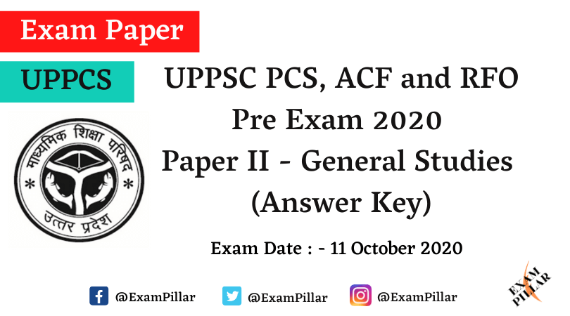 UPPCS Pre Exam 2020 Answer Key