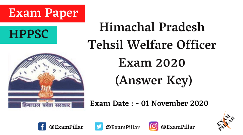 HPPSC Tehsil Welfare Officer Exam 2020 Answer Key
