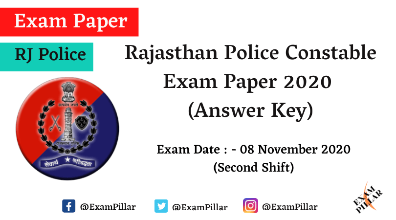 Rajasthan Police Constable Exam Paper 2020 Answer Key